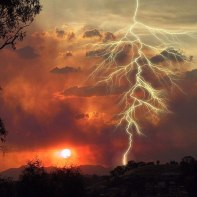 Lightning strikes at sunset. Photo: Scotto Bear via Wikimedia Commons